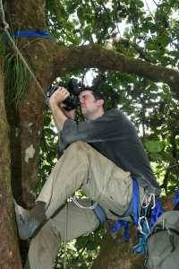 Taking pictures 35 m high in a Costa Rican tree. Picture by Steve Yanoviak.