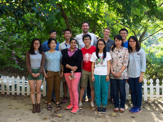 The Insect Biodiversity & Biogeography Laboratory (first row left to right: Minnie, Ying, Kavyanjali, Henry, Charlotte, Lily, Lousia; Second row: Roger, Khan, Benoit, Brian & Chase